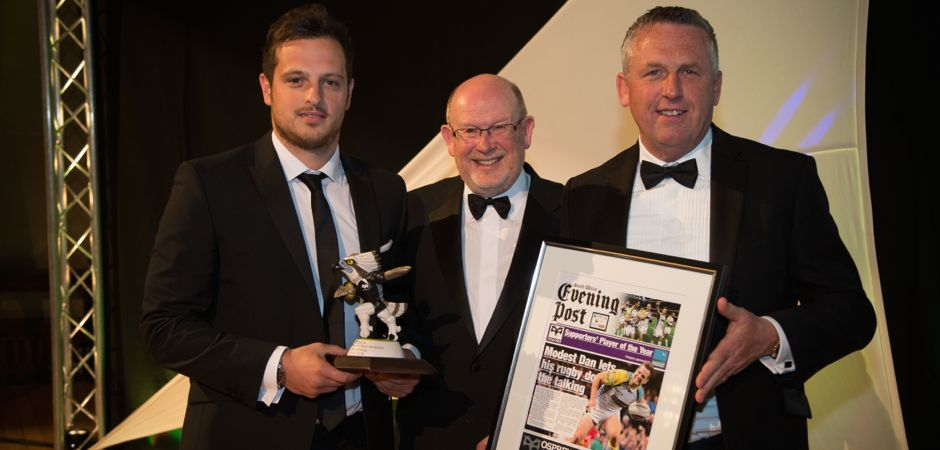 01.05.15 - Ospreys Awards Evening, Swansea - Dan Evans, winner of the Ospreys Supporters' Player of the Year Award